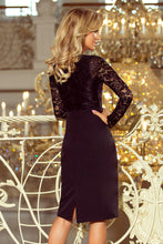 216-2 Lace Bodice Pencil Midi Dress In Black