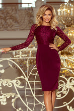 216-3 Burgundy Pencil Dress with Lace Bodice