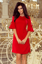 217-1 Red Trapeze Dress with Flared Sleeve