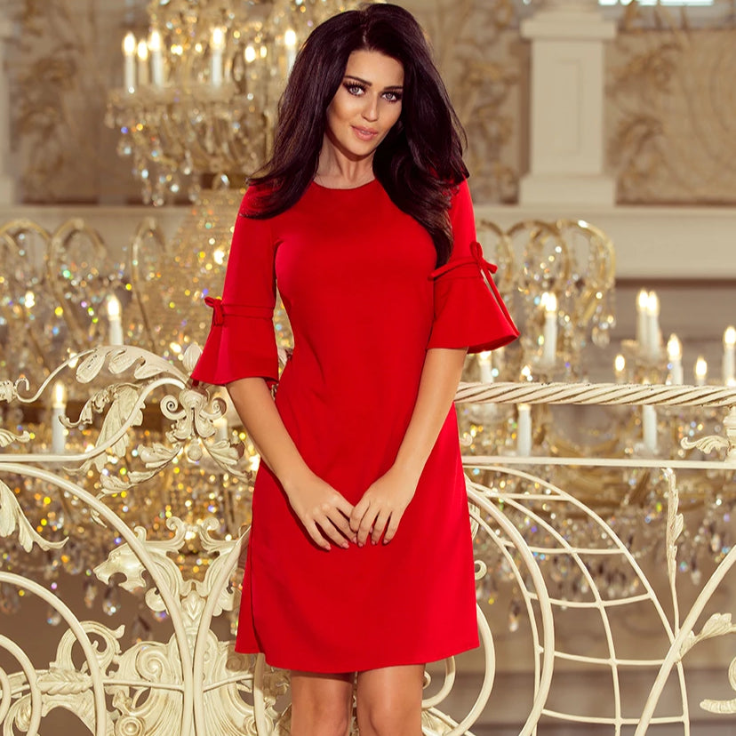 217-1 Trapeze Mini Dress with Flared Sleeve In Red