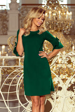 217-2 Green Trapeze Dress with Flare Sleeve