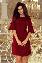 217-3 Burgundy Trapeze Dress with Flared Sleeve