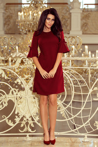 217-3 Trapeze Mini Dress with Flared Sleeve In Burgundy