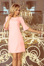 217-4 Pink Trapeze Dress with Flared Sleeve
