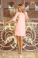 217-4 Trapeze Mini Dress with Flared Sleeve In Pink