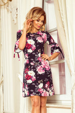 217-5 Black/Pink Floral Trapeze Dress with Flared Sleeve