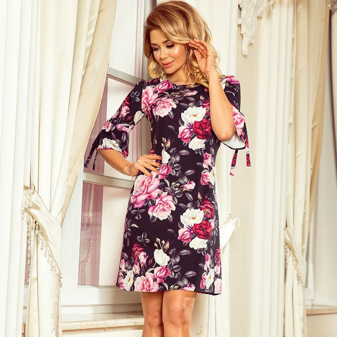 217-5 Floral Trapeze Mini Dress with Flared Sleeve In Black/Pink