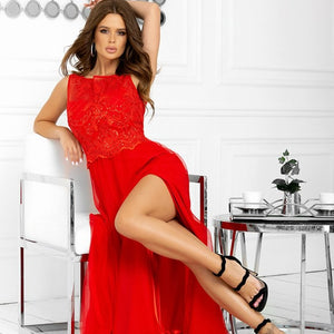 2192-02 Tulle & Embroidered Mesh Slit Maxi Dress In Red