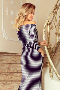 220-5 Striped Drawstring Waist Maxi Dress In White/Navy