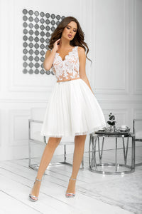 2206-21 Fit & Flare Tulle & Embroidered Lace Mini Dress In Ecru/Beige