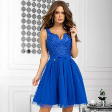 2206-05 Fit & Flare Tulle & Embroidered Lace Mini Dress In Royal Blue