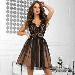 2206-16 Fit & Flare Tulle & Embroidered Lace Mini Dress In Black/Beige