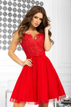 2206-02 Fit & Flare Tulle & Embroidered Lace Mini Dress In Red