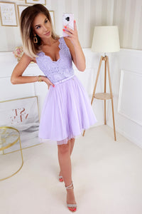 2206-50 Fit & Flare Tulle & Embroidered Lace Mini Dress In Purple