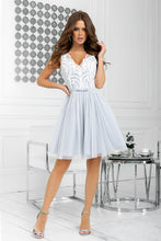 2206-31 Fit & Flare Tulle & Embroidered Lace Mini Dress In Grey/Ecru