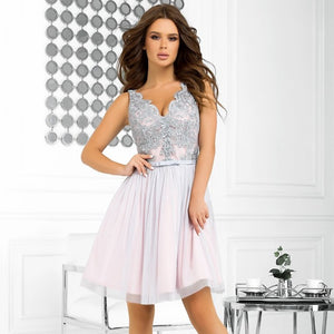2206-33 Fit & Flare Tulle & Embroidered Lace Mini Dress In Pink/Grey