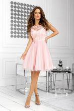 2207-12 Tulle & Embroidered Mesh Mini Dress In Pink