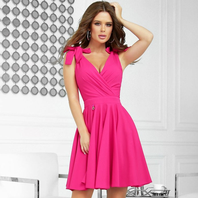 2209-07 Fit & Flare Mini Dress In Fuchsia