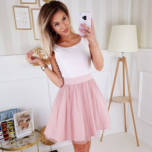 2210-36 Fit & Flare Tulle Belted Mini Dress In Ecru/Pink