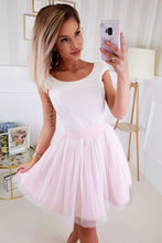2210-32 Fit & Flare Tulle Belted Mini Dress In Ecru/Pink