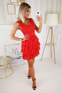 2211-02 Pleated Tulle Tiered Mini Dress In Red