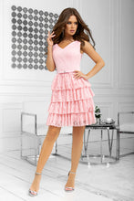 2211-12 Pleated Tulle Tiered Mini Dress In Pink