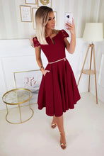 2212-10 Lace-Cap Sleeve Fit & Flare Midi Dress with Pockets In Burgundy