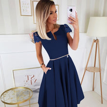 2212-01 Lace-Cap Sleeve Fit & Flare Midi Dress with Pockets In Navy