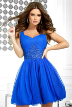 2214-05 Fit & Flare Tulle Mini Dress With Bubble Hem In Royal Blue