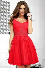 2214-02 Fit & Flare Tulle Mini Dress With Bubble Hem In Red