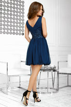 2214-01 Fit & Flare Tulle Mini Dress With Bubble Hem In Navy