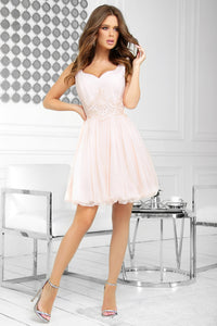 2214-17 Fit & Flare Tulle Mini Dress With Bubble Hem In Peach