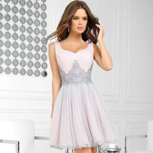 2214-33 Fit & Flare Tulle Mini Dress With Bubble Hem In Pink-Grey