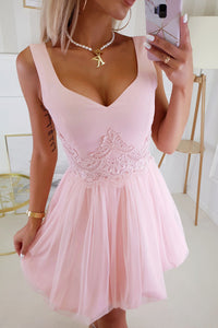 2214-12 Fit & Flare Tulle Mini Dress With Bubble Hem In Pink