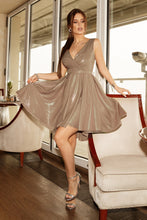 2215-21 Glitter High-Low Mini Dress In Beige