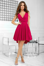 2215-27 Glitter High-Low Mini Dress In Raspberry