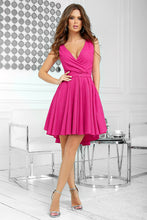 2215-07 Glitter Fit & Flare Mini Dress In Fuchsia