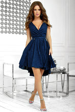 2215-01 Glitter Fit & Flare Asymmetric Mini Dress In Navy