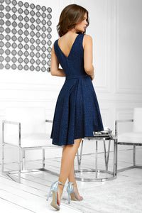 2215-01 Glitter High-Low Mini Dress In Navy