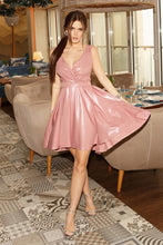 2215-20 Glitter High-Low Mini Dress In Dusty Pink