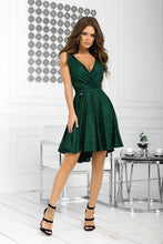 2215-13 Glitter Fit & Flare Mini Dress In Green