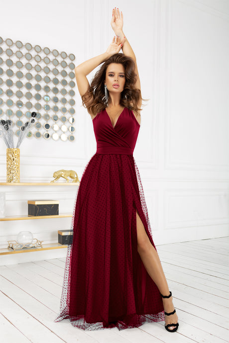 2218-10 Tulle Belted Slit Maxi Dress In Burgundy