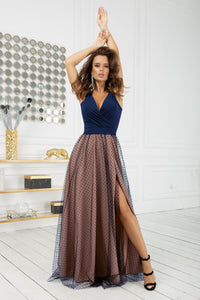 2218-22 Tulle Belted Slit Maxi Dress In Navy-Beige