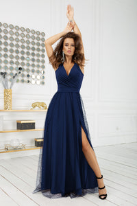 2218-01 Tulle Belted Slit Maxi Dress In Navy