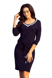 224-1 Drawstring Waist Knee-Length Dress with Pockets In Navy