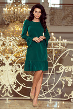 226-1 Dark Green Trapeze Dress with Ruffled Hem