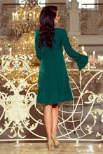 226-1 Trapeze Knee-Length Dress with Ruffle Hem In Green
