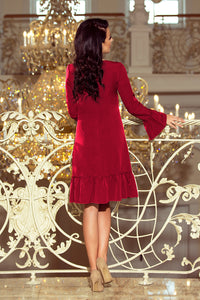 226-2 Trapeze Knee-Length Dress with Ruffle Hem In Burgundy