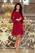 226-2 Burgundy Trapeze Dress with Ruffled Hem