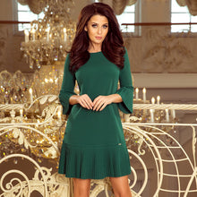 228-2 Pleat Sleeve & Hem Mini Dress In Green